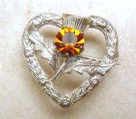 Vintage Sterling Silver Scottish Dainty Thistle Heart Brooch By WBS.